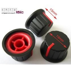Bouton potentiomètre noir-rouge 19mm
