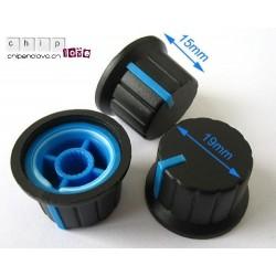 Bouton potentiomètre noir-bleu 19mm
