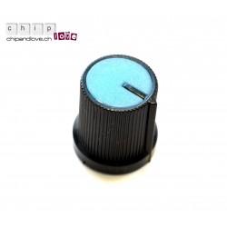 Bouton potentiomètre noir-bleu 15mm