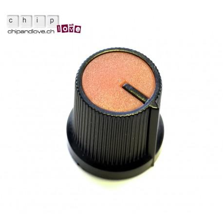 Bouton potentiomètre noir-orange 15mm